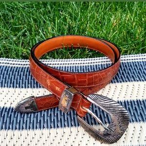 Vintage Southwestern Style Brown Leather Belt 34